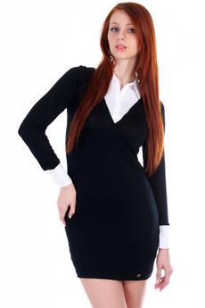 Черное платье с белым воротником и манжетами Mondigo со скидкой