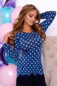 Синяя блузка в горошек Open-Style